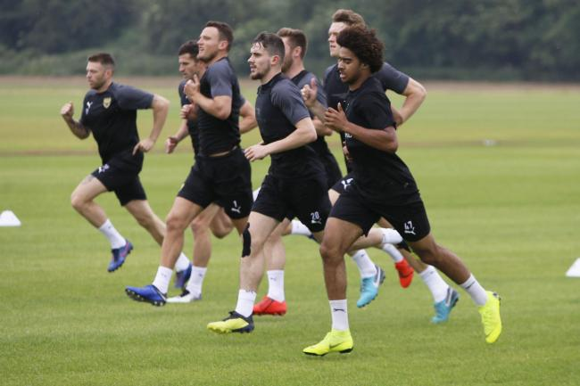 Oxford United's players are put through their paces during the first full day of pre-season training Picture: Ed Nix