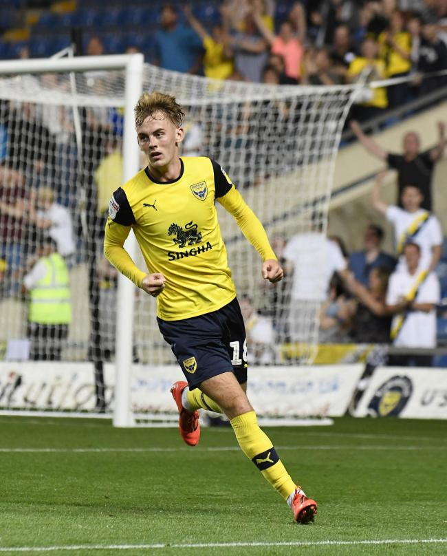 Mark Sykes celebrates his first Oxford United goal in midweek, but despite the strike the midfielder could still be loaned out before Monday's deadline  						    Picture: David Fleming