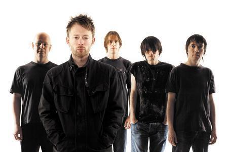 Radiohead, with Jonny Greenwood (second from the right)
