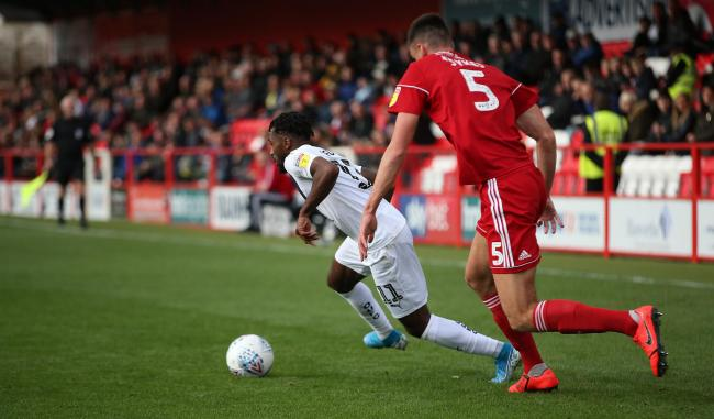 Tariqe Fosu cuts inside on the way to opening the scoring for Oxford United at Accrington Stanley   Picture: Richard Parkes