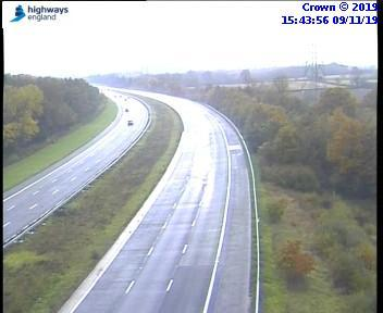 Part of the M40 closed off to traffic after accident. Pictures from Highways England