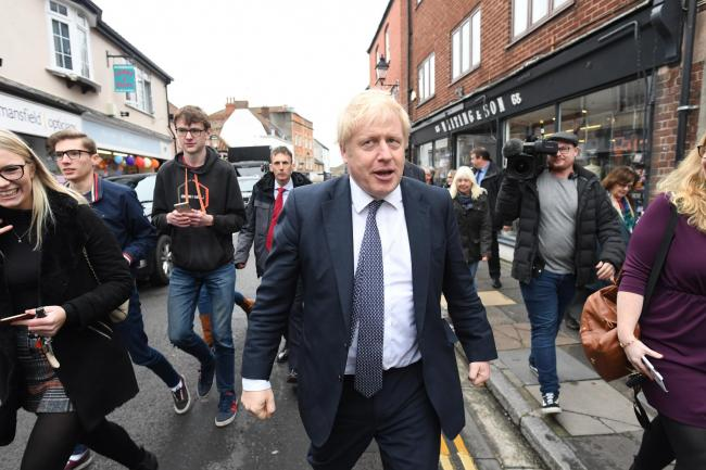 Boris Johnson on a walkabout in the Wells constituency