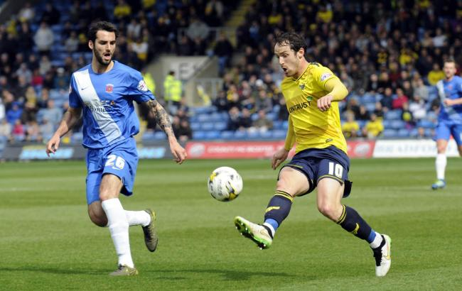 Danny Hylton on the attack for Oxford United in their last meeting with Hartlepool United, in April 2016   Picture: David Fleming