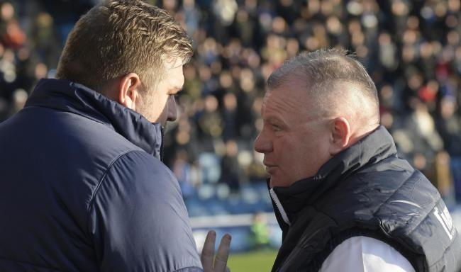 Gillingham manager Steve Evans (right) with his Oxford United counterpart Karl Robinson  Picture: David Fleming