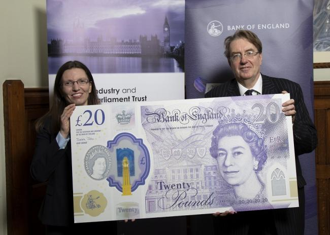 Henley MP John Howell gets a sneak preview of the new £20 note with Bank of England chief cashier Sarah John on February 5, 2020. Picture: John Howell