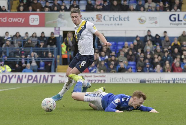Ipswich Town V Oxford Utd .Cameron Brannagan wins the ball..Picture by: David Fleming.