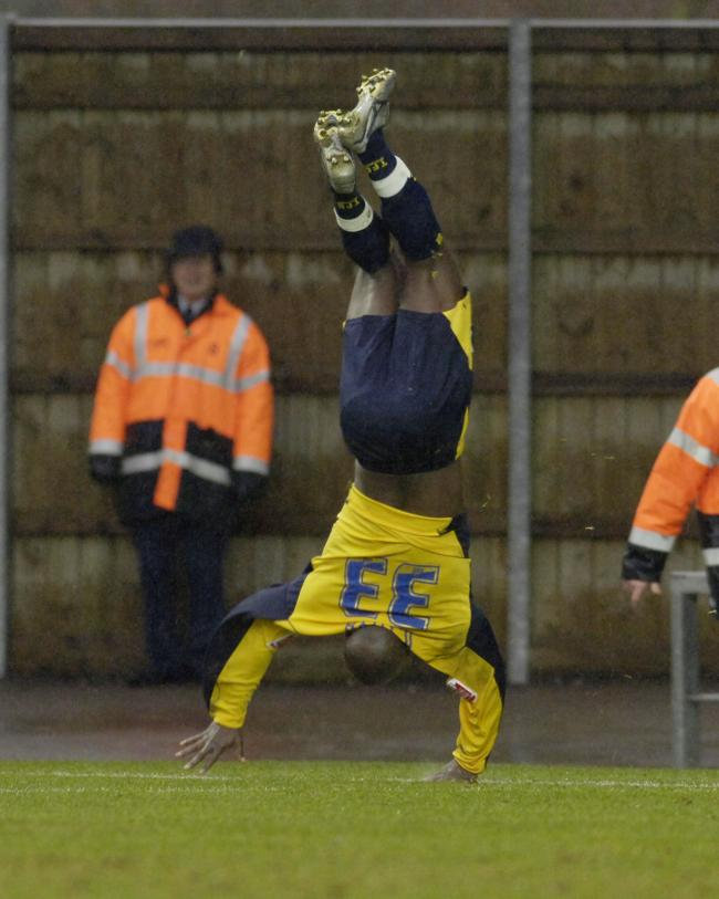 Tcham N'Toya celebrates scoring on his Oxford United debut in 2006   Pictures: David Fleming