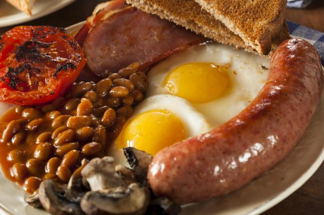 Traditional Full English Breakfast with Eggs, Bacon, Sausage, and Baked Beans.
