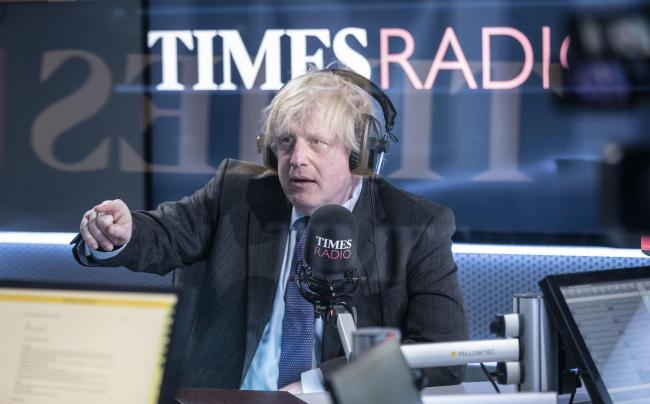 Prime Minister Boris Johnson, pictured on national station Times Radio, has pledged a 'spending blitz' in order to restart the UK economy. Picture: PA Wire/Times Newspapers
