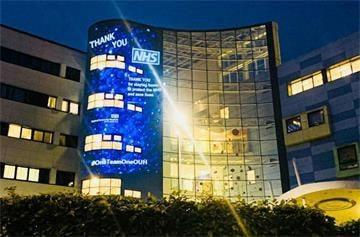 Oxford's John Radcliffe Hospital lit up to thank NHS staff. Picture: OUH