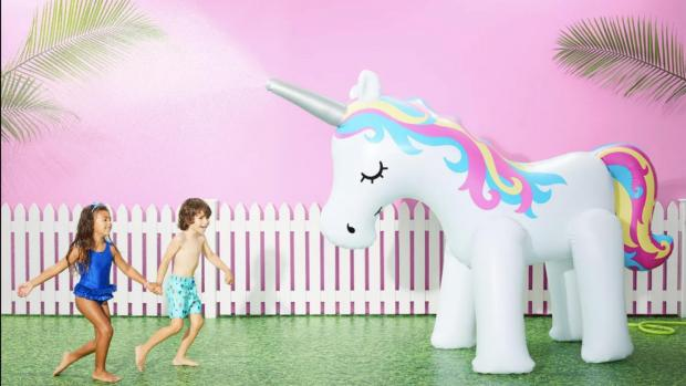 Banbury Cake: This unicorn sprinkler looms above kids, but it's a good size for adults, too. Credit: Sun Squad