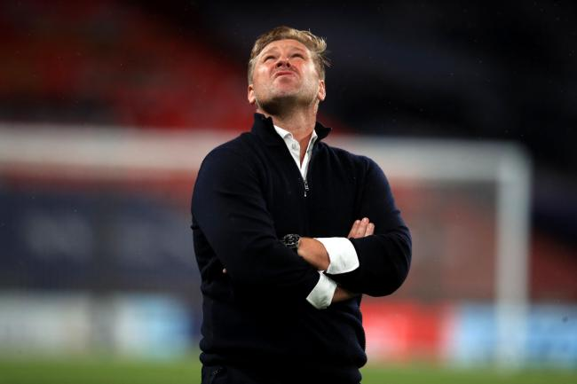 Oxford United boss Karl Robinson looks to the heavens after the final whistle at Wembley    Picture: Adam Davy/PA Wire