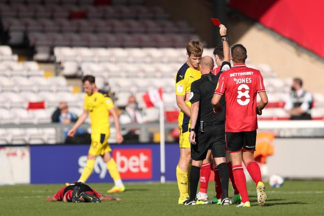 Rob Atkinson was given a straight red card by referee Andy Davies on Saturday   Picture: James Williamson