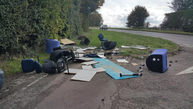 File pic of dumped office furniture on a Wallingford Road left by a man from Northampton.