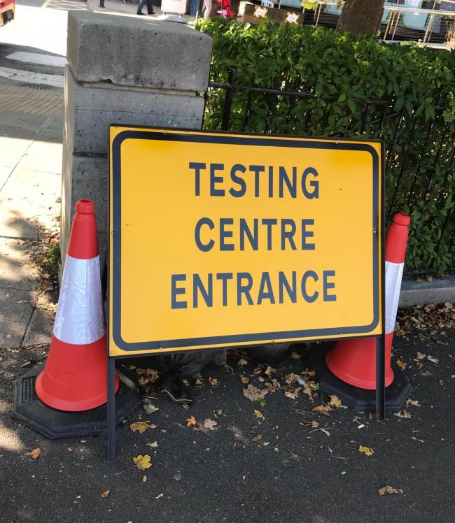 Testing centre entrance. Pic Fran Way