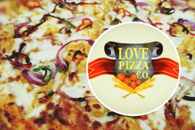 Love Pizza co. logo and pizza background