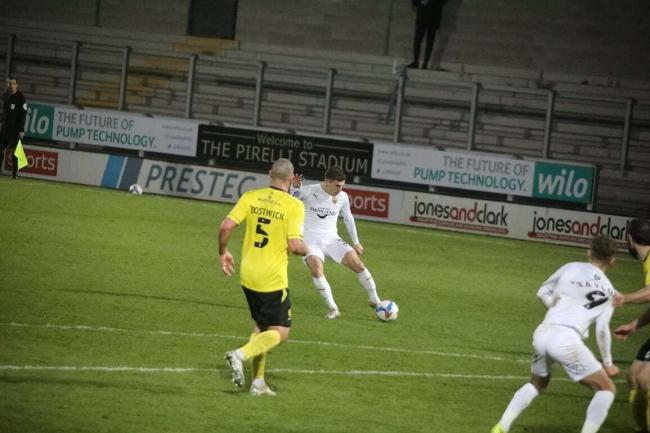 Josh Ruffels slams home Oxford United's fourth goal at Burton Albion Picture: Darrell Fisher
