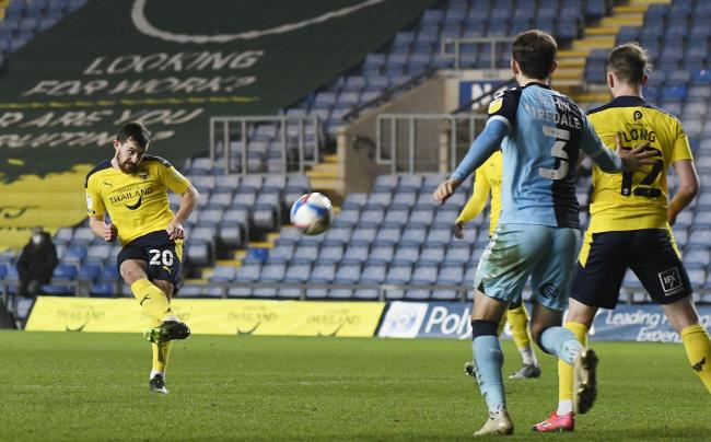 Jamie Hanson shoots for goal during Oxford United's Papa John's Trophy victory over Cambridge United Picture: David Fleming