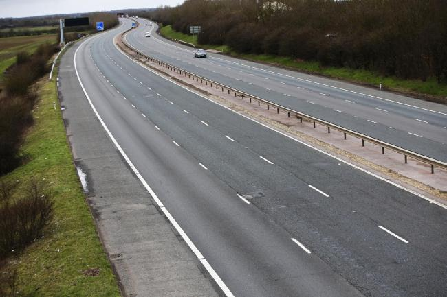 An empty M40 after a crash last week