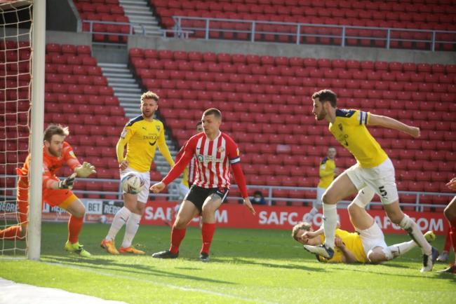 Elliott Moore goes close during Oxford United's defeat at Sunderland Picture: Darrell Fisher