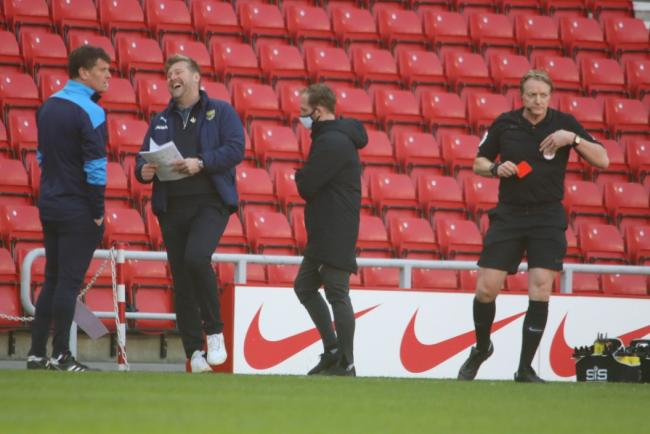Karl Robinson after being sent off by referee Trevor Kettle at Sunderland Picture: Darrell Fisher