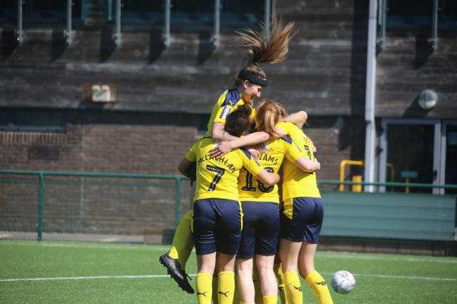 Oxford United Women celebrate Georgia Brown's goal against Cardiff City Ladies Picture: Darrell Fisher