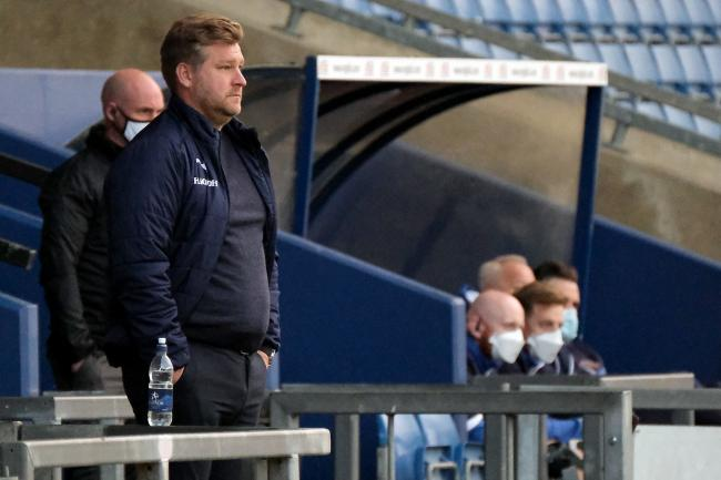 Karl Robinson during Oxford United's home game with Shrewsbury Town. Picture: Ric Mellis