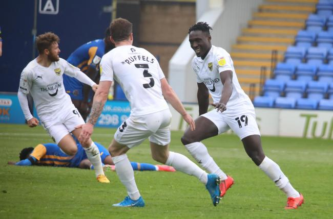 Dan Agyei celebrates with Josh Ruffels after scoring Oxford United's late winner at Shrewsbury Town Picture: Darrell Fisher