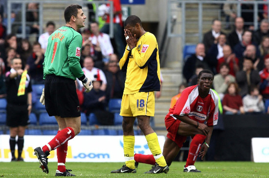 Eric Sabin rues a missed opportunity against Leyton Orient in 2006 Picture: Chris Young/PA