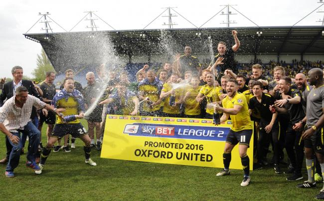 Oxford United celebrate promotion in 2016 Picture: David Fleming