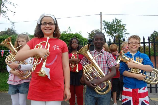 Marion Hendy, 10 and Year 5 playing in the parade