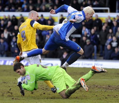 James Constable is denied by Bristol Rovers goalkeeper Michael Poke during last season's goalless draw at the Memorial Stadium. The U's open their new campaign there on August 16