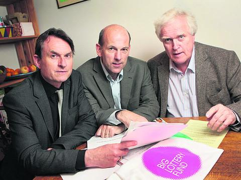 Richard Pantlin, left, with Dr Rupert McShane and Ben Simpson