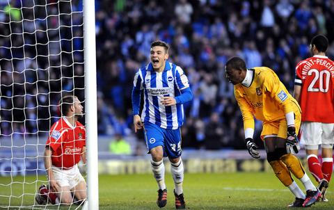 Banbury Cake: Jake Forster-Caskey celebrates scoring for Brighton against Wrexham last season