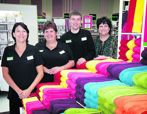 Dunelm Mill store manager Sarah Sheehan, right, with colleagues, left to right, Alison Williams, Kim Colchester-Hall and Lee Williams