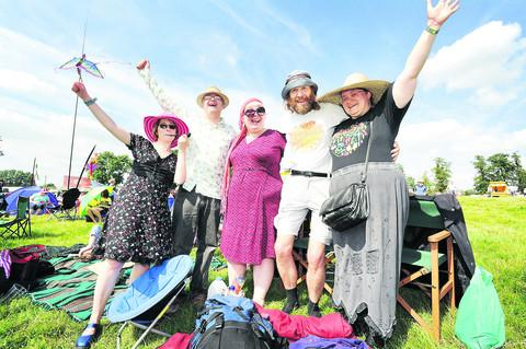 Festival-goers, from left, Catrin Lewis, Jim Finnis, Melanie Rimmer, David Laight and Shona Mitchell