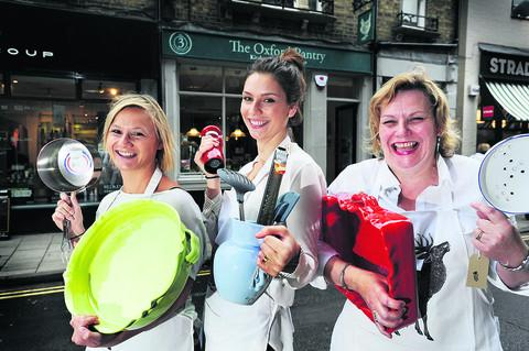 Charlotte Creed, centre, with store manager Amelia Bradley, left, and mum and co-director, Philippa Creed. Picture: OX53624 Jon Lewis