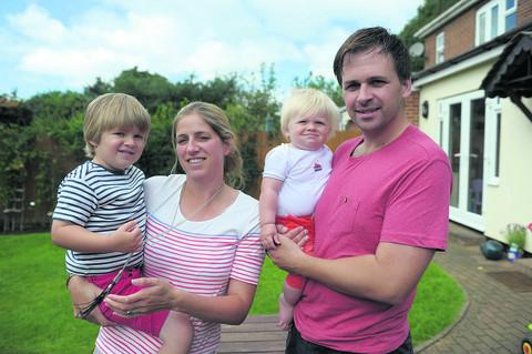 Sandra Prewer with husband Adam and sons Dylan, three, and 10-month-old Finnley