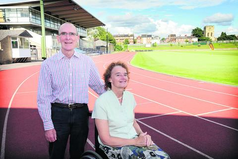 Banbury Cake: Gary and Kathy Critchlow-Smith at the Iffley Road running track