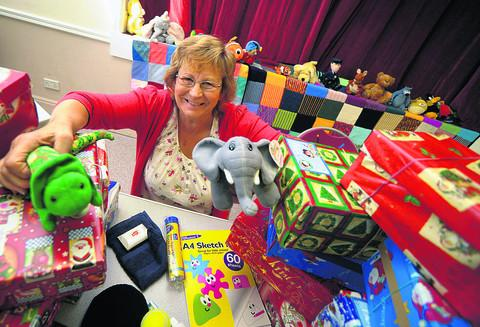 Marie Cotton fills shoeboxes last year