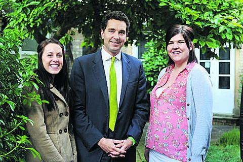 Banbury Cake: Children's Minister Edward Timpson with care leavers Sammy Lax (left) and Joanne Griffin