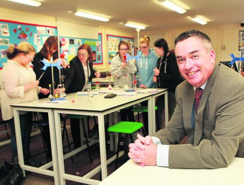 King Alfred's headteacher Simon Spiers in a Year 12 chemistry lesson