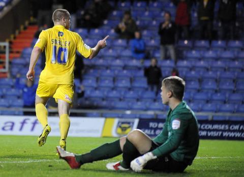 Deane Smalley celebrates his goal against AFC Wimbledon