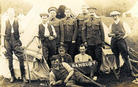 Banbury members of the Oxfordshire Yeomanry, pictured in 1914