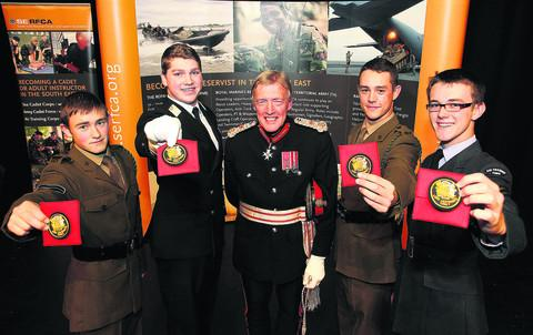 Oxfordshire's Lord Lieutenant Tim Stevenson pictured with his new cadets