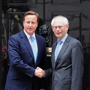 David Cameron greets Herman Van Rompuy outside 10 Downing Street last year