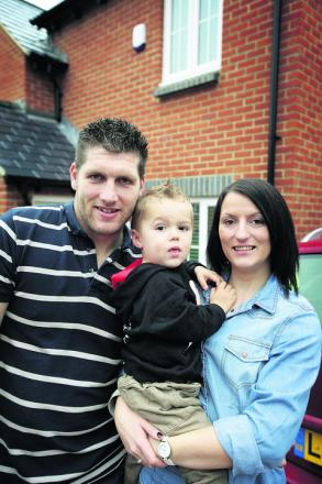 Emma Harris, fiance Jay Morris and their one-year-old son, Ryley. Picture: OX55132 Damian Halliwell