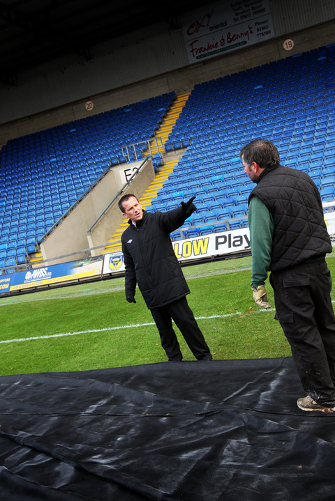 Referee Keith Stroud at the Kassam Stadium yesterday after a pitch inspection, where he decided that the FA Cup replay between Oxford and Accrington could not take place due to the cold weather