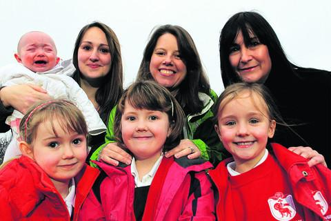 From left to right, Lucinda Page with her niece Scarlott and daughter Megan, six, Natalie Flannery with daughter Hayley, five, and Sharon Mallinson with daughter Mollie, six