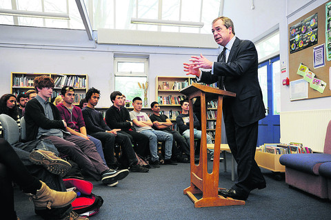 UKIP leader Nigel Farage at Wheatley Park School